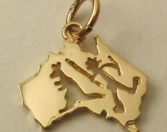 Genuine SOLID 9K 9ct YELLOW GOLD Australian Map Aborigine and Kangaroo charm/pendant