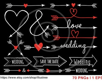 Wedding clip art, Valentine's day clipart, hand-drawn arrows, chalkboard clip art, commercial use, vector, EPS,  instant download