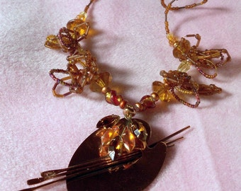 original art pendant Art Goddess vintage artist pallet renoir copper