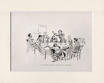 Randolph Caldicott sketch (OUR DEBATING SOCIETY< Clinching an Argument) bookplate 1889