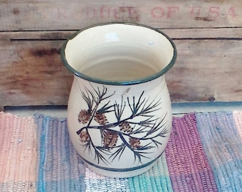 Handmade crock, rustic pottery kitchen vase, ceramic utensil holder, log cabin decor, pottery Vase in Pinecone design 1725