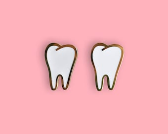 Teeth Earrings - 22k Gold Plated Molar Tooth Studs