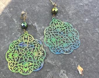 Meadow Patina India Style Filigree and Czech glass Dangle Earrings  Shabby Chic Patina Earrings Boho Jewelry Lightweight Statement Earrings