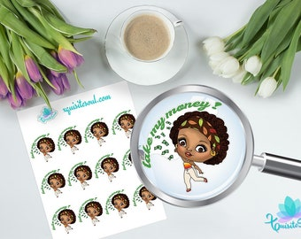 Take My Money Anika African American Planner Stickers for Erin Condren Planner/Spend and New Release Trackers for Happy Planner