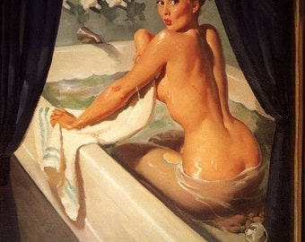 Large 12x18 ELVGREN - JEEPERS PEEPERS - Nude Bubble bath pinup - Mid Century - Art Deco - Bathroom tub pin-up - Giclee print - Signed.