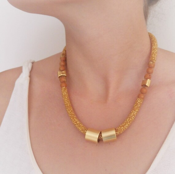 Gold Bold Necklace, Big Funky Necklace, Statement Jewelry, Chunky Womens Necklace, Golden Sparkling Necklace,  Bib  Necklace