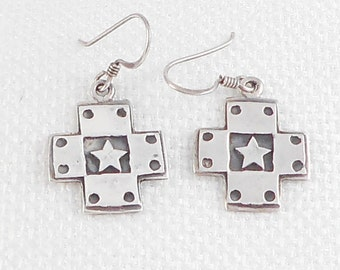 Vintage Sterling Marsala Southwest Cross Earrings 1980's Marsala Sterling Silver Cross Earrings 925 Cross Earring Religious Cross Earrings