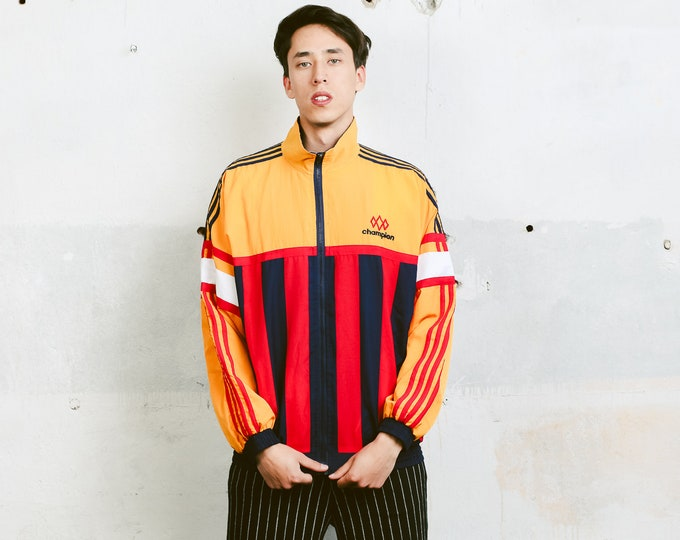 80s Champion Shell Jacket . Vintage Windbreaker Men's Unisex Shell Jacket Zip Up Sports Jacket Outerwear 80s Activewear . size Large L