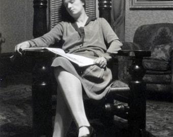 vintage photo 1932 Woman Lies Asleep Reading Book Dreamy Big chair Tiny Lady?