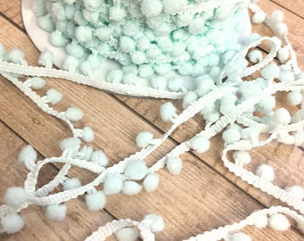 "1 yard of 1/2"" Light Aqua Pom Pom Trim, Scrapbook, Card Making, Sewing, Decor, DIY projects, Fringe, Edging, Acid and Lignin Free, Pastel"