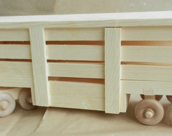 Semi Tractor with Livestock Trailer,Toy Truck,Wood Truck,Handmade,Wooden Toy,Original Design,Wood Stock Trailer,Semi Stock Trailer