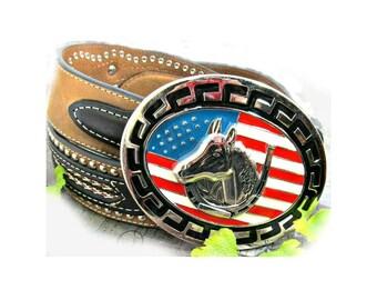 horse belt, western belt - tooled leather belt - horse buckle belt - ,size 38 ,  # B 10