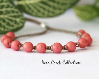 Strawberry, Boho Beaded Bracelet, Pink, Round Glass Beads, Stacking, Layering, Crochet Jewelry, Boho Style, Bohemian, Cord Bracelet