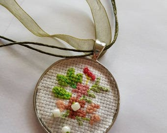 Cross Stitch and Beaded Floral Silver Pendant Necklace