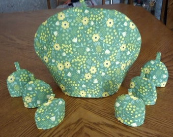 Custom made teapot cozy and egg cozies