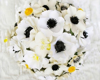 Handmade Paper Flower Wedding Bouquet - Anemone Inspired - Customize your Style and Colors - Made To Order