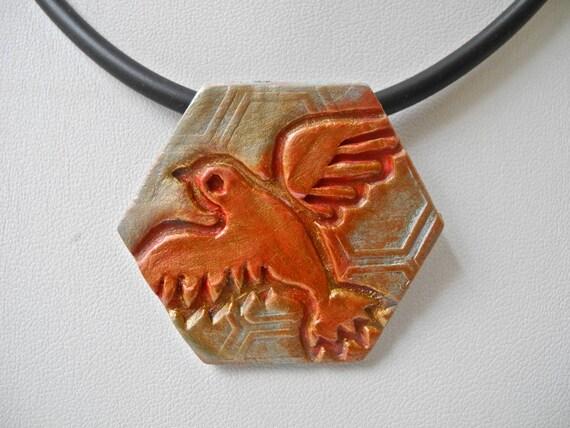 Red Bird pendant, Dove pendant, red copper gold pendant, Boho vibe, pottery pendant, porcelain necklace, Boho style, Boho chic, copper gold
