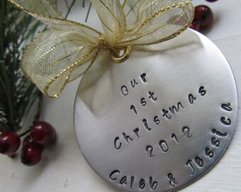 Personalized Hand Stamped Christmas Ornament Our 1st Christmas Ornament Handstamped Ornament Keepsake
