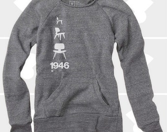 Eames Plywood Chair, Women's Sweatshirt, Sweatshirt, Slouchy Sweatshirt, Comfy Sweatshirt, Oversized Sweatshirt, Yoga Sweatshirt
