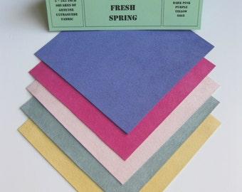 Ultrasuede Simply Fresh Spring 5 x 5 Squares, Purple, Dark Pink, Light Pink, Yellow, Sage