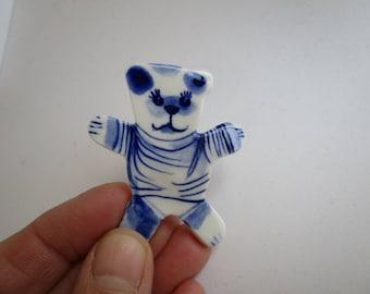 Teddy Bear -  Handpainted Delft Blue Porcelain Brooch