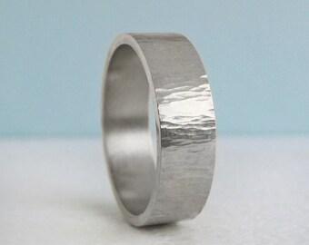 7mm Platinum Comfort Fit Wedding Band   Tree Bark Hammer Texture  Flat comfort fit platinum Men's Band   Recycled Platinum Wedding RIng