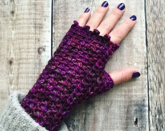 Fingerless gloves, crochet wrist warmers,  hand warmers, extrafine merino, purple accessories