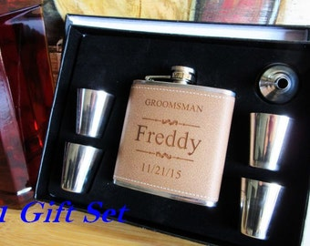 Set of 1 Will You Be My Groomsmen Box, Set of 1 Personalized Leather Father of Groom Gift Set, Wedding Flask Gift Box, Groom Flask Gift Set