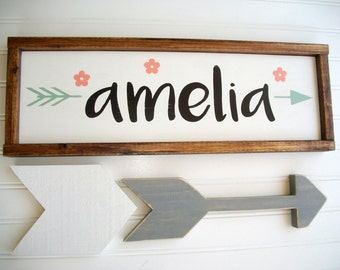 Name Sign .Baby Girl . Boho  Tribal Arrow . Coral Mint Peach  . Woodland Arrow Name Sign . Boho Sign . Modern Nursery . Big Girl Room