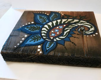 Rustic Hand Painted Reclaimed Paisley Wood Decor