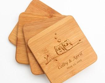 Personalized Coaster Set, Custom Engraved Bamboo Coaster, Owls, Personalized Coasters, Personalized Wedding Gift, Housewarming Gifts D29