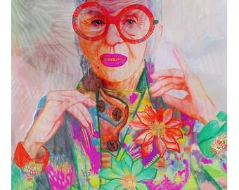 Illustrated art print, Iris Apfel