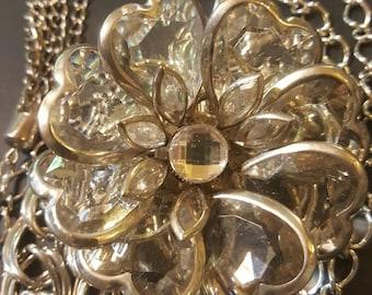 Silver Metal Belt, with Flower, Metal Chain Belt, Girlie Belt, Fashion Belt, Floral Belt, Flowers and Chains, Free Shipping