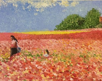 Mother and Daughter in Flower Fields