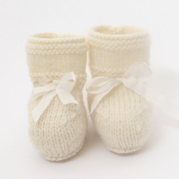 Baby Booties / Knitting Pattern / French Instructions / PDF / 4 Sizes : Newborn - 3 months - 6 months - 12 months