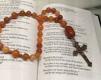 Red Agate and Chalcedony Anglican Rosary  Protestant Prayer Beads    Faithful  Episcopal Rosary   Ethiopian Heishi  Christian Mediation