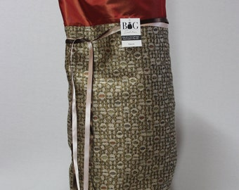 Tan, rust and olive woven fabric gift bag