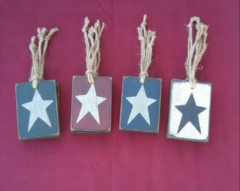 4 pc Star Ornaments, Wood Ornaments, Christmas Ornaments, Primitive Star Ornaments, Farmhouse Style Christmas Ornaments, Wood Star Ornaments