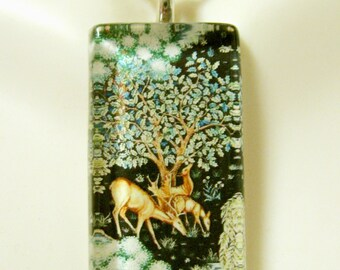 Deer in blue woods tapestry pendant and chain - WGP12-025