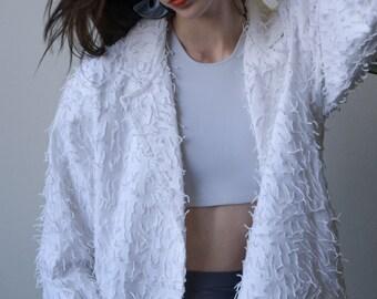 white woven fringe shag jacket / cotton jacket / lightweight jacket / s  / 2473o / B19