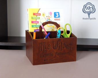 Wood desk organizer Harry potter fans office supplies  Pencil Cup name Wood pencil holder Wood Name Sign Children's Name Sign