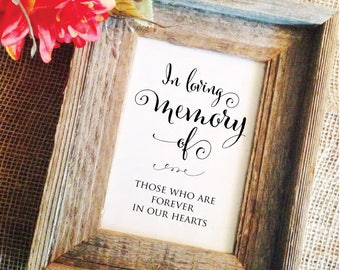 Memorial Table Sign- Wedding Memory Table Sign wedding remembrance table in loving memory sign Wedding Memorial Table (Frame NOT included)
