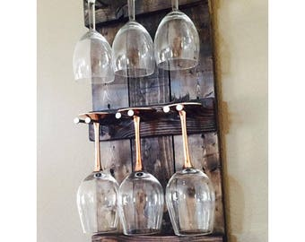 Rustic Wine Glass Holder | Wine Glass Rack | Wine Glass Display