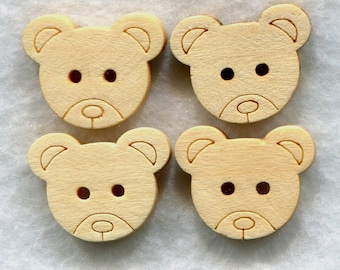 Bear Buttons Decorated Animal Wooden Buttons 15mm (5/8 inch) Set of 8/BT50G