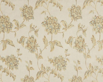 Light Blue, Taupe and Champagne Large Scale Flowers and Leaves Damask Brocade Upholstery Fabric By The Yard | Pattern # B0720F