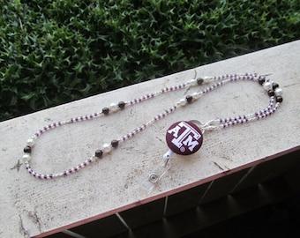 Texas A&M Aggies ID Badge Lanyard Maroon and White Beaded ID Badge Holder