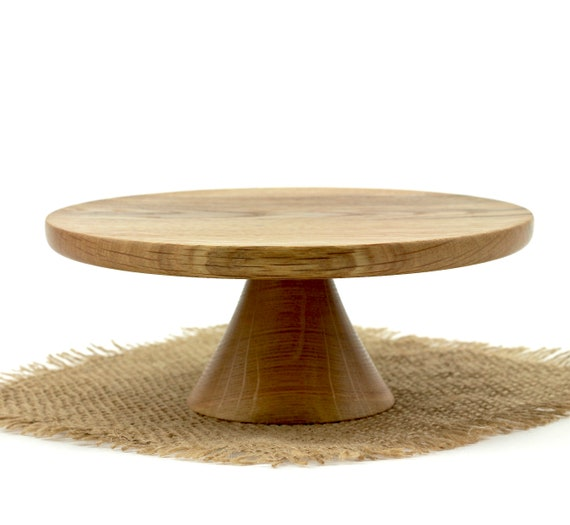 """7 3/8"""" Wooden Hickory Cake Stand  / Pedestal Cake Plate /Cupcake Stand"""