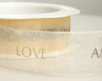 Champagne Ivory Love Text Ribbon written in 4 languages - 3 Metres