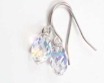 Clear AB Crystal Teardrop Earrings - Wedding Jewelry - Bridesmaid Jewelry