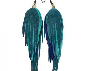 Turquoise & Blue Suede leather feather fringe Handmade earrings. Boho earrings. Bohemian earrings. Festival fringe. Leather feathers